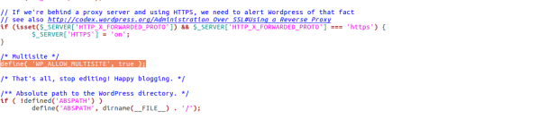 A screenshot showing an excerpt of the code in the wp-config.php file