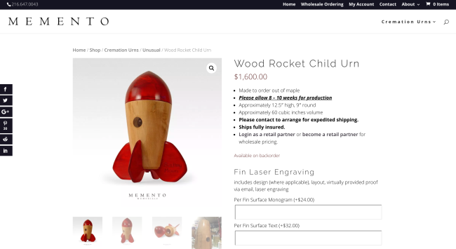 Rocket-shaped urn made from wood for a child.