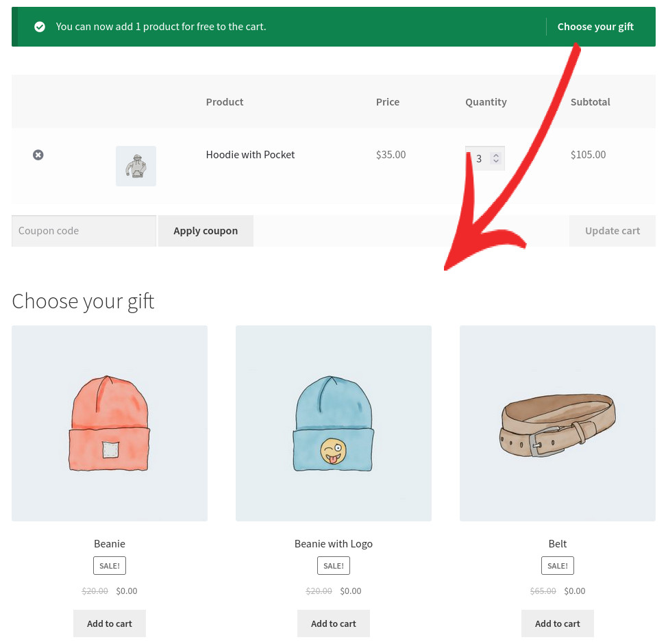 Free gift for WooCommerce