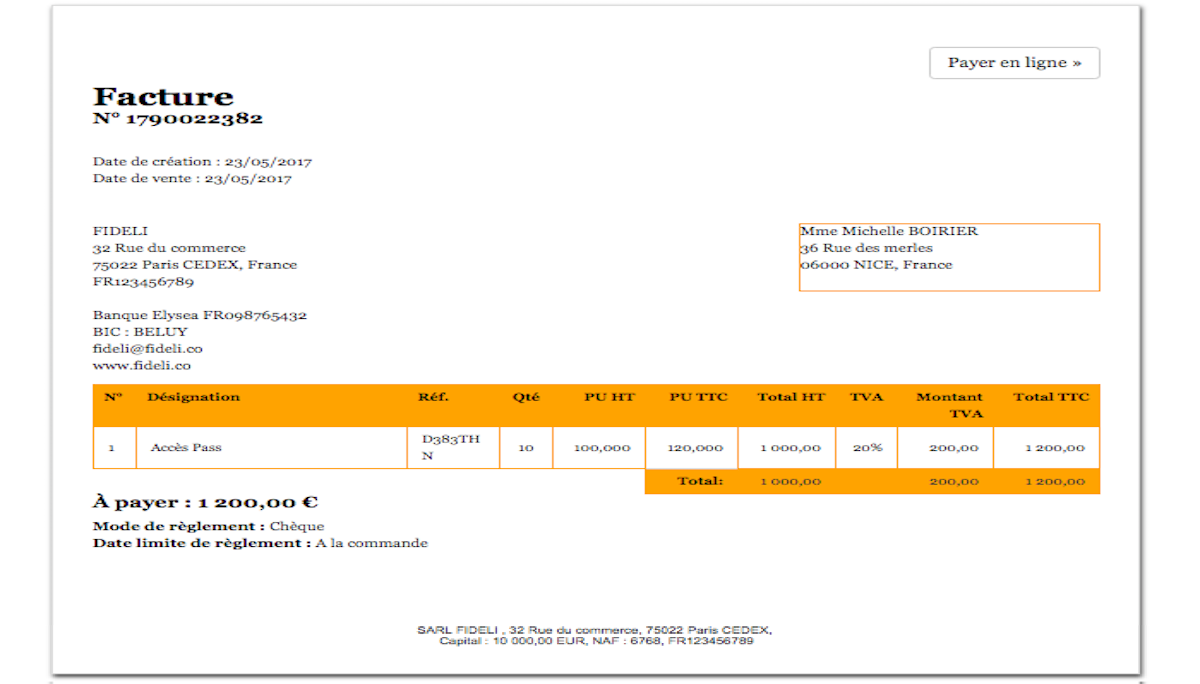 Custom Invoice Example