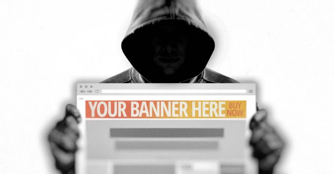 "Marketing image shows someone holding a computer with a web page featuring ""your banner here, buy now"" at the top of the web page."