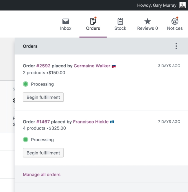 Store owners can fulfil orders, manage stock and inventory and store notifications from the new activity panel in WooCommerce Admin.