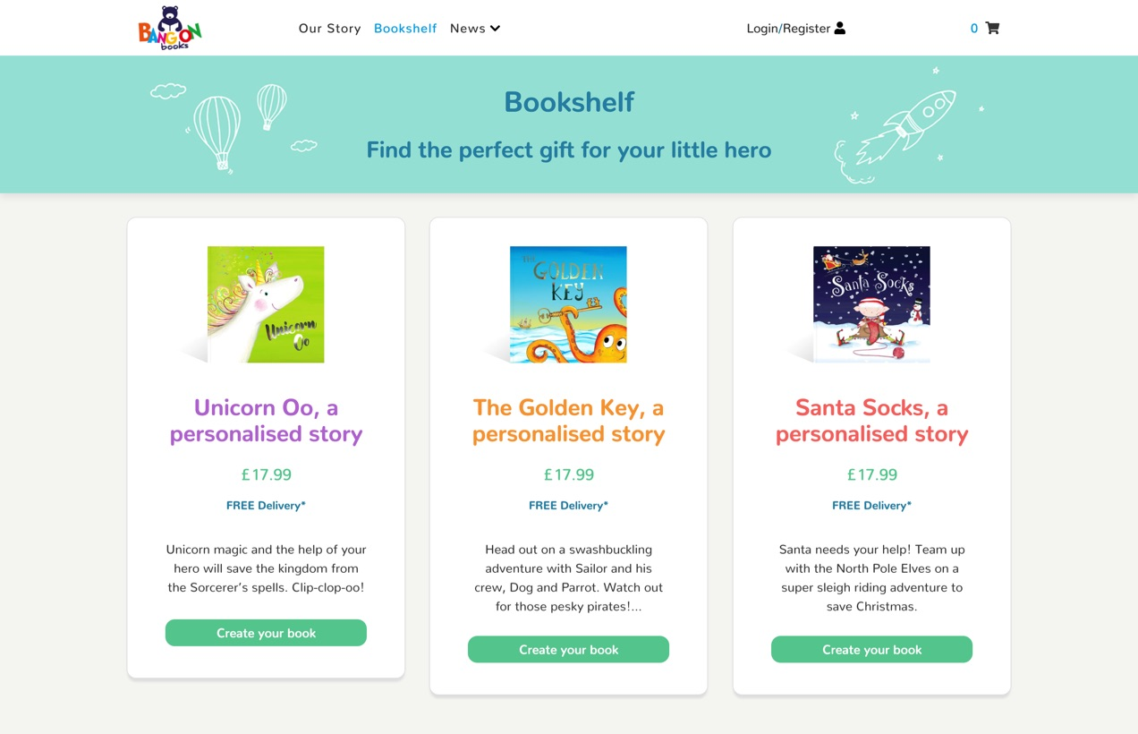 The different storybooks on offer at bangonbooks.co.uk.