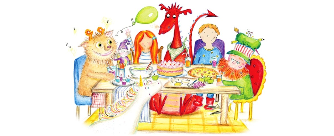 Illustration of two children surrounded by colorful characters and creatures from a storybook.