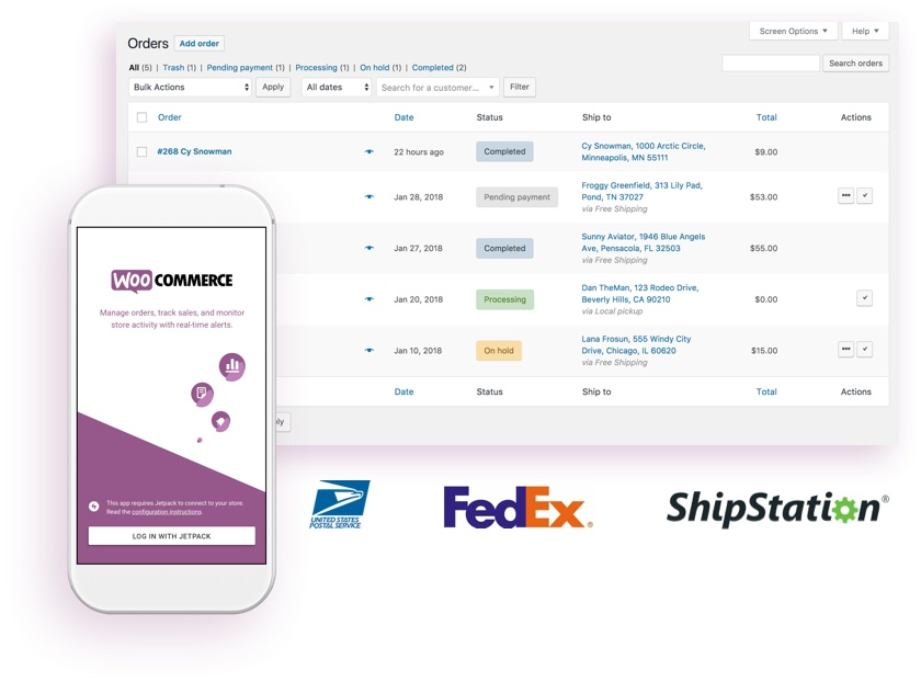 The WooCommerce mobile app displayed on a phone, and the order management screen in the dashboard.