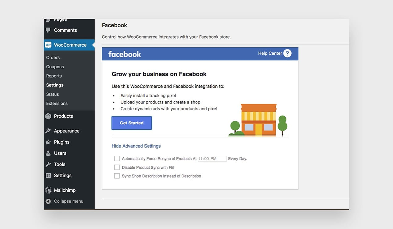 A screenshot of a Facebook for WooCommerce screen in WP Admin.