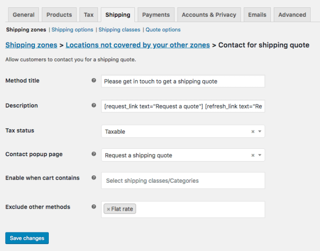 Contact for Shipping Quote instance settings