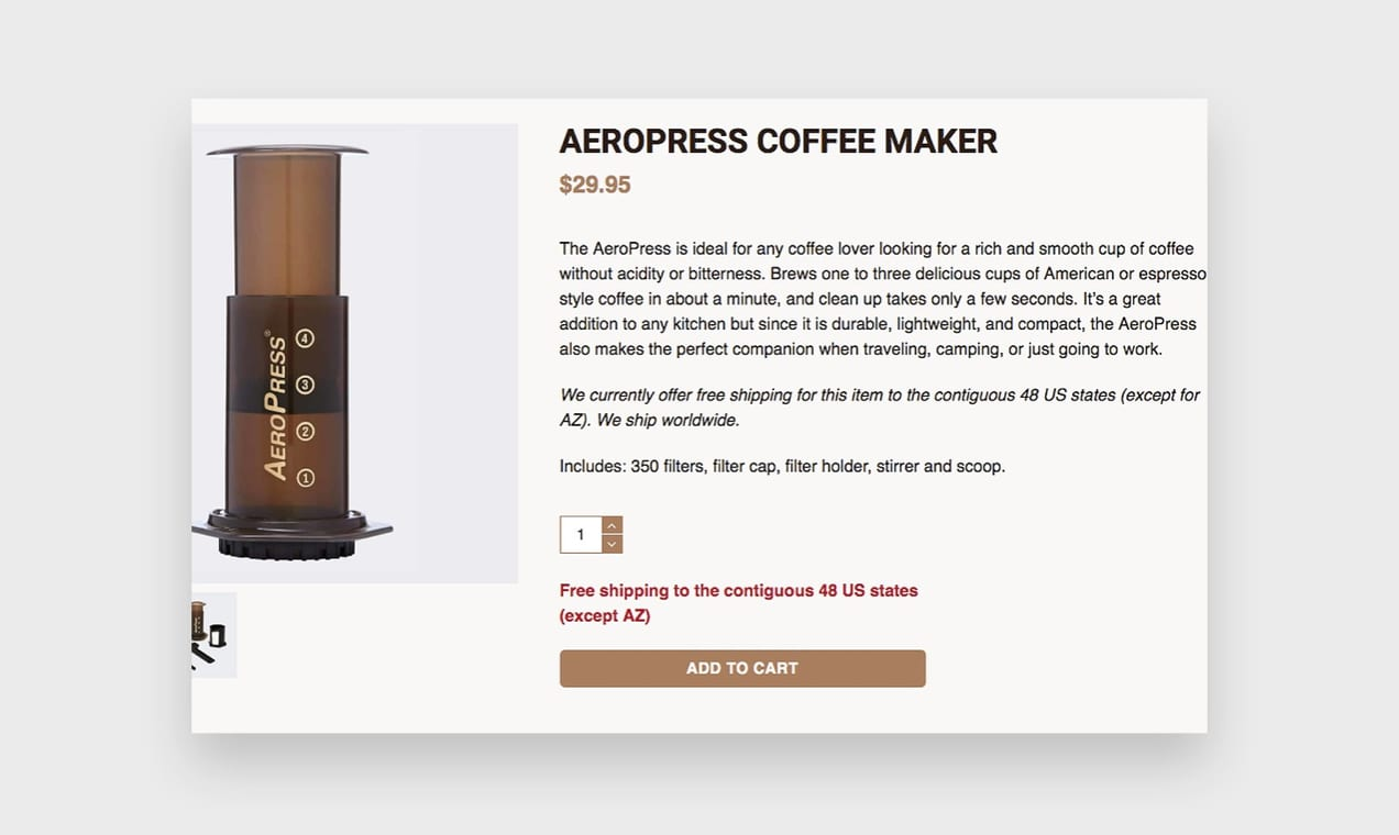 Screenshot from the Aeropress website, which demonstrates how to write a good product description.