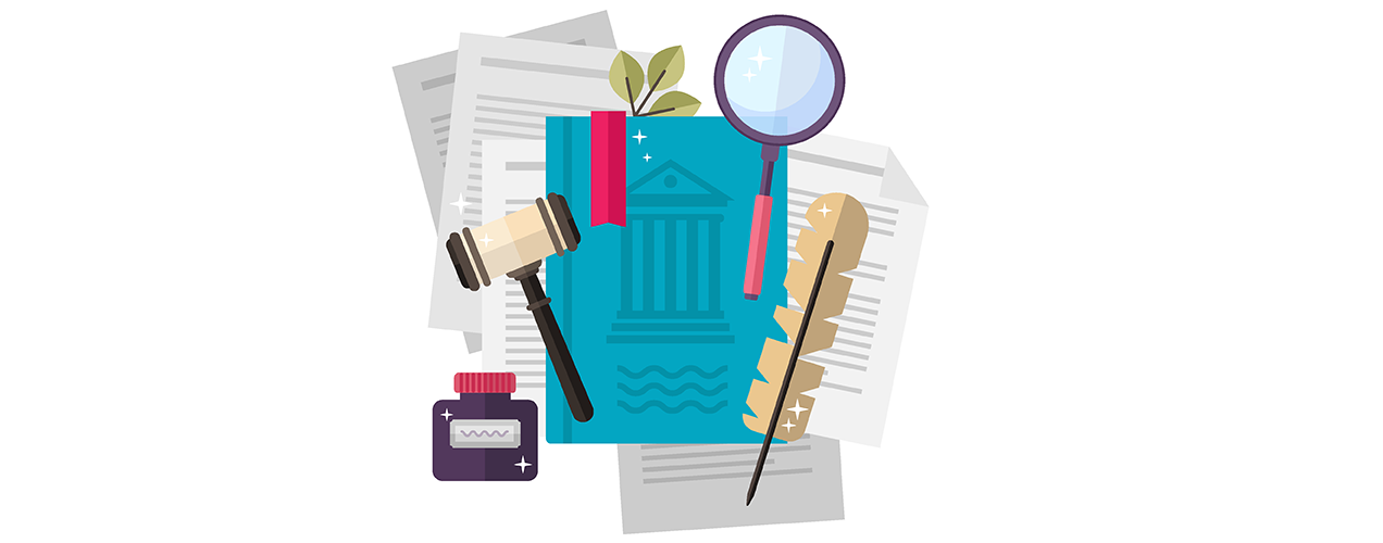 legal illustration with law books, gavels, and paperwork