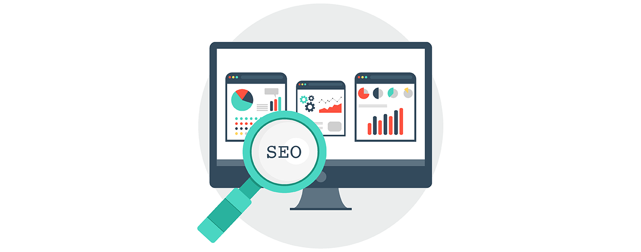 SEO icon with a computer screen and graphs of website traffic