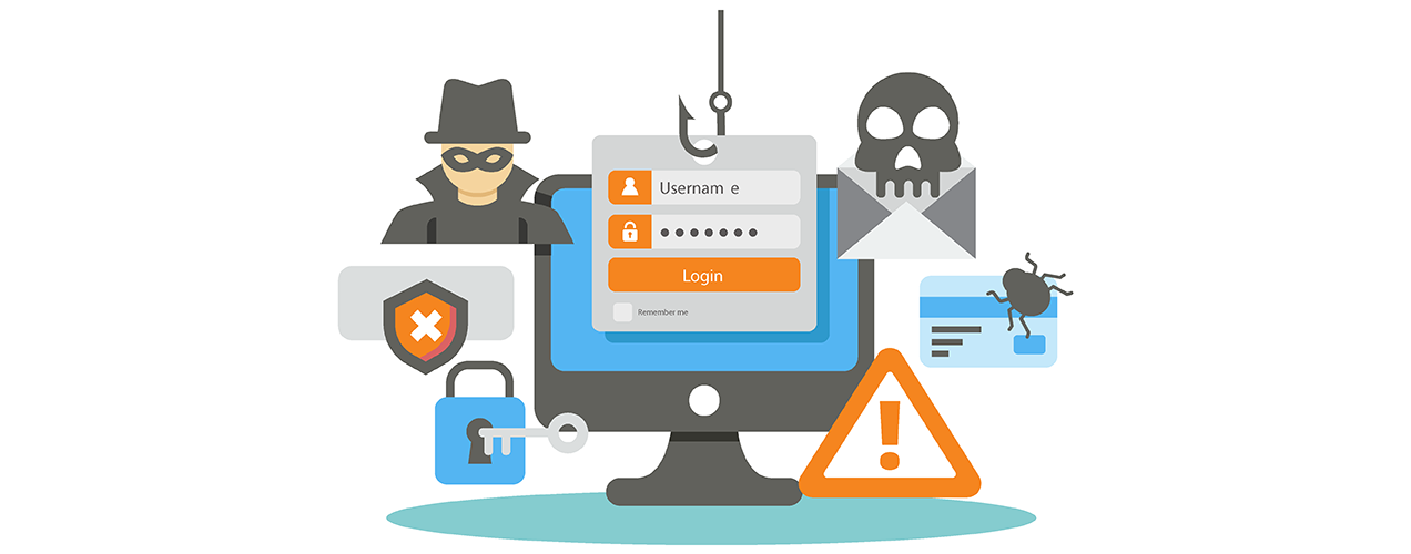 illustration of security, with icons demonstrating hackers, error messages, and locks