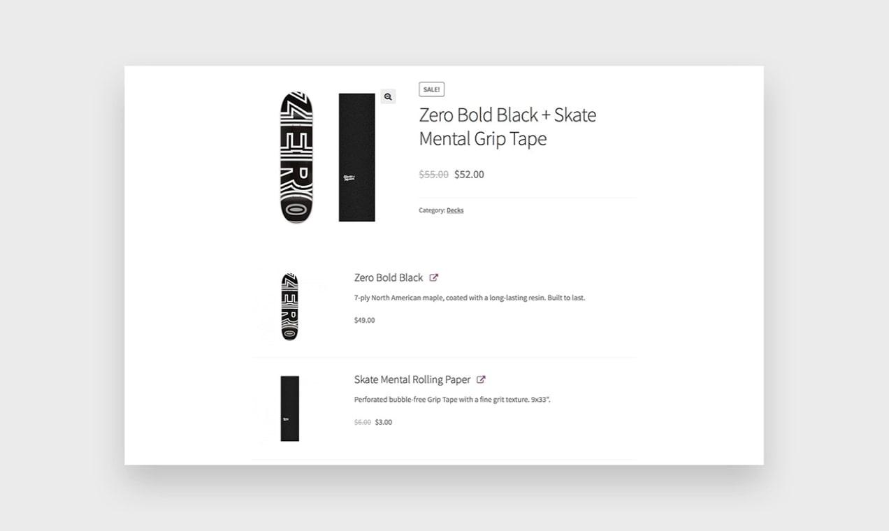 zrzut ekranu z rozszerzeniem Pakiety produktów pokazujący, jak grupować produkty