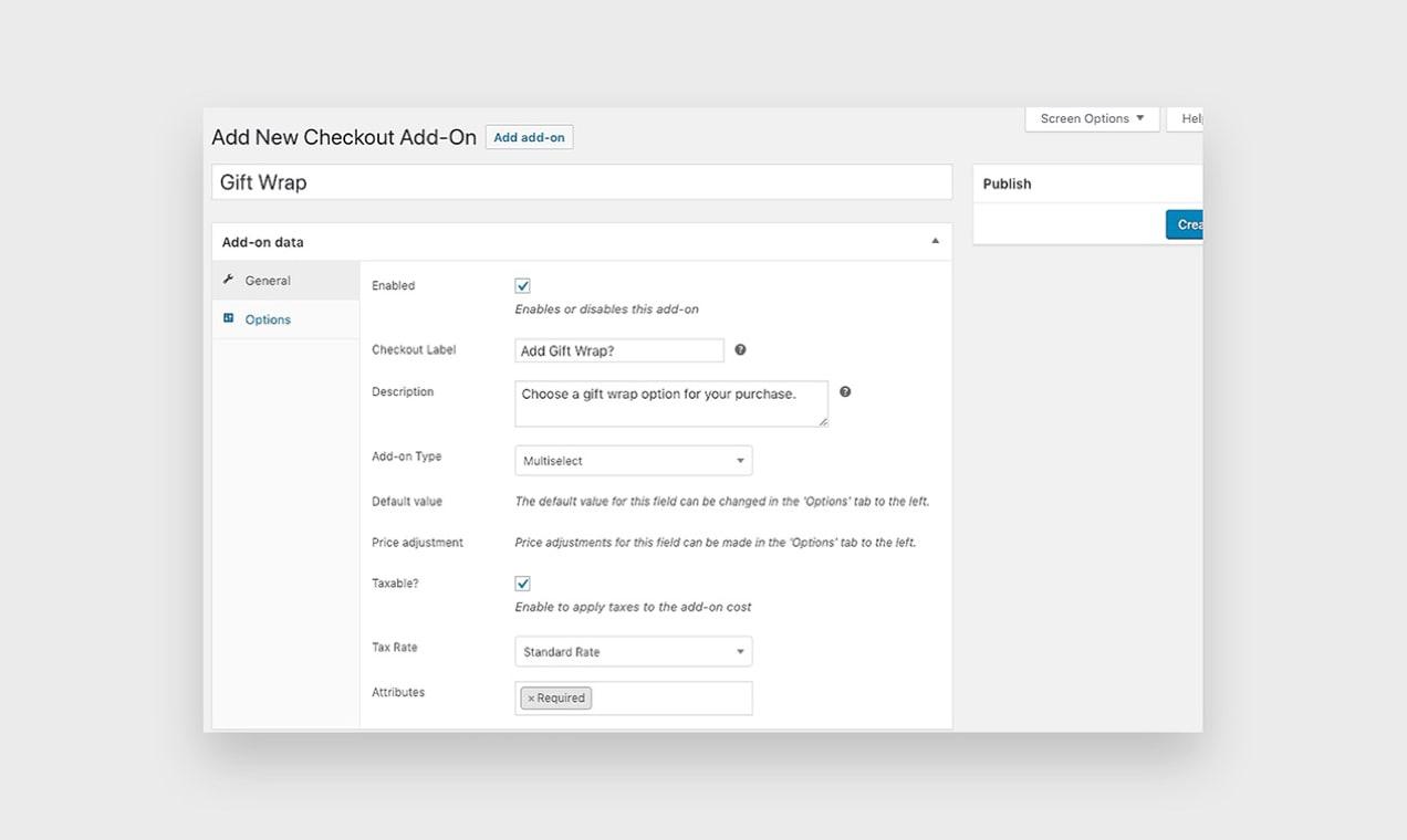 zrzut ekranu rozszerzenia Checkout Add-Ons pokazujący, jak dodać opakowanie na prezent do zakupu