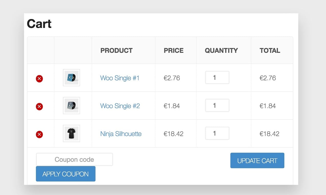 Screenshot from the WooCommerce Currency Converter widget plugin, showing the Cart page.
