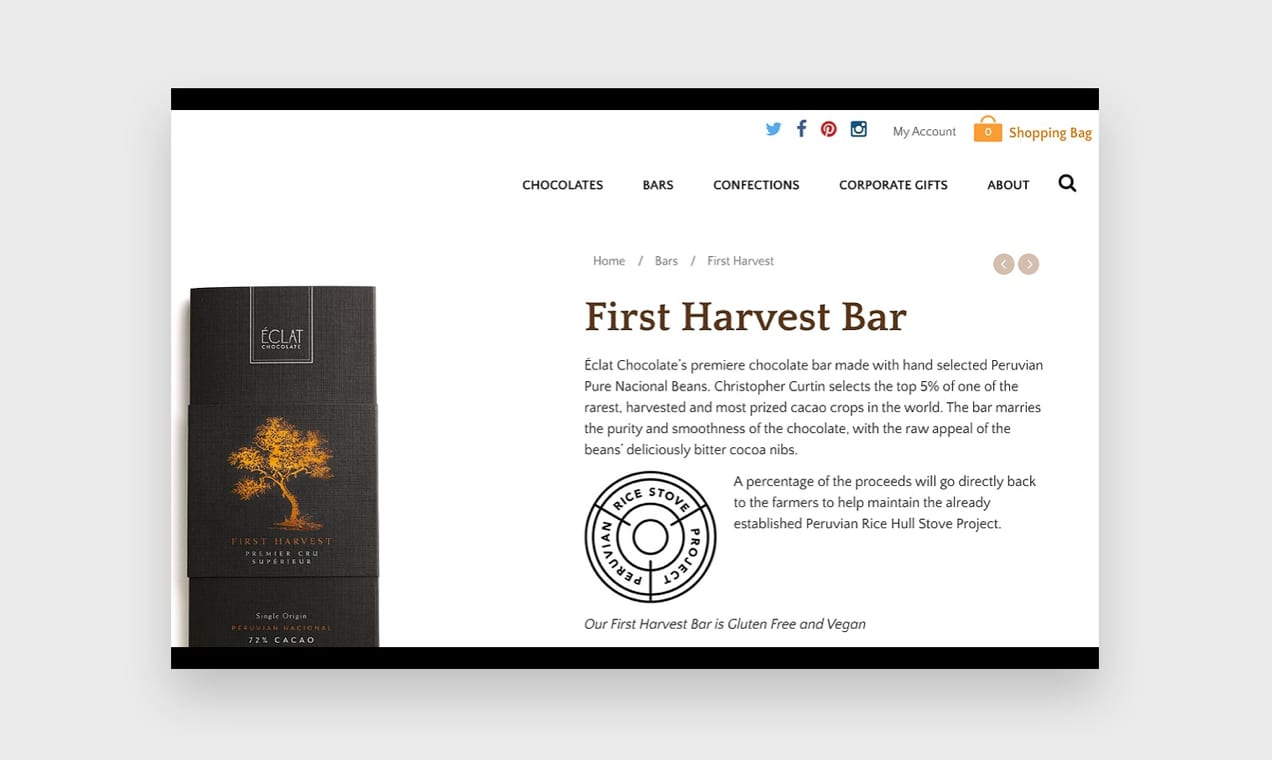 Screenshot from the Éclat Chocolate website, demonstrating product descriptions that appeal to the senses.