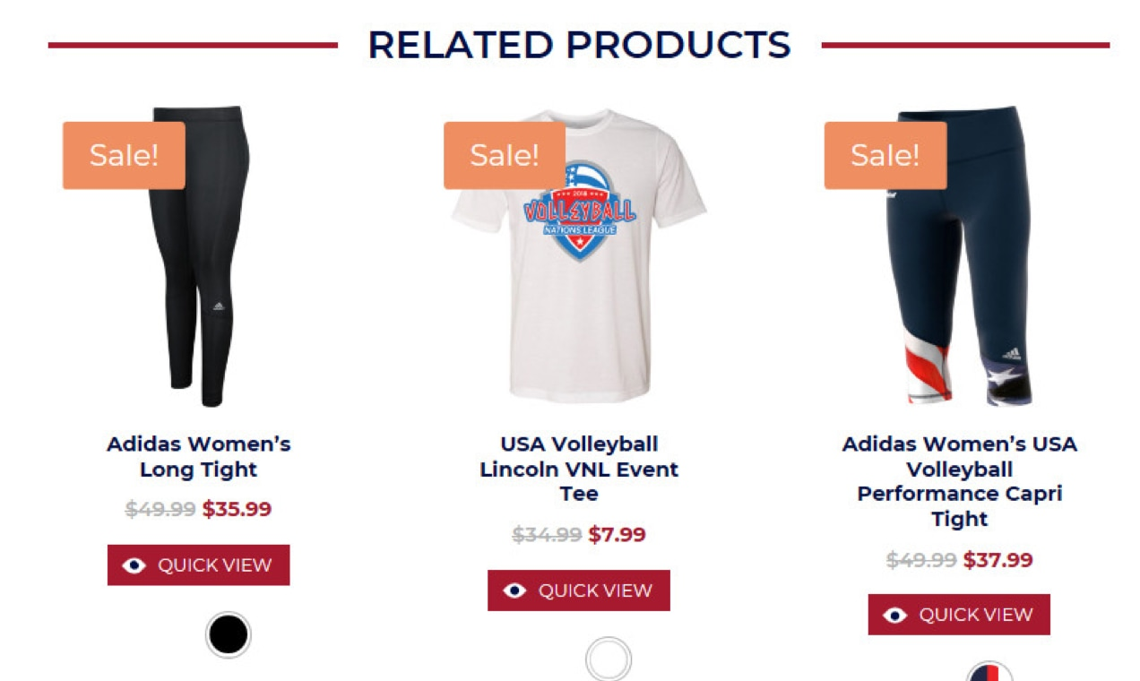 screenshot of Related Products from a volleyball website