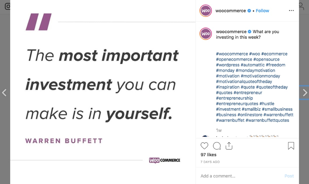 Screenshot from the WooCommerce Instagram showing a motivational quote.