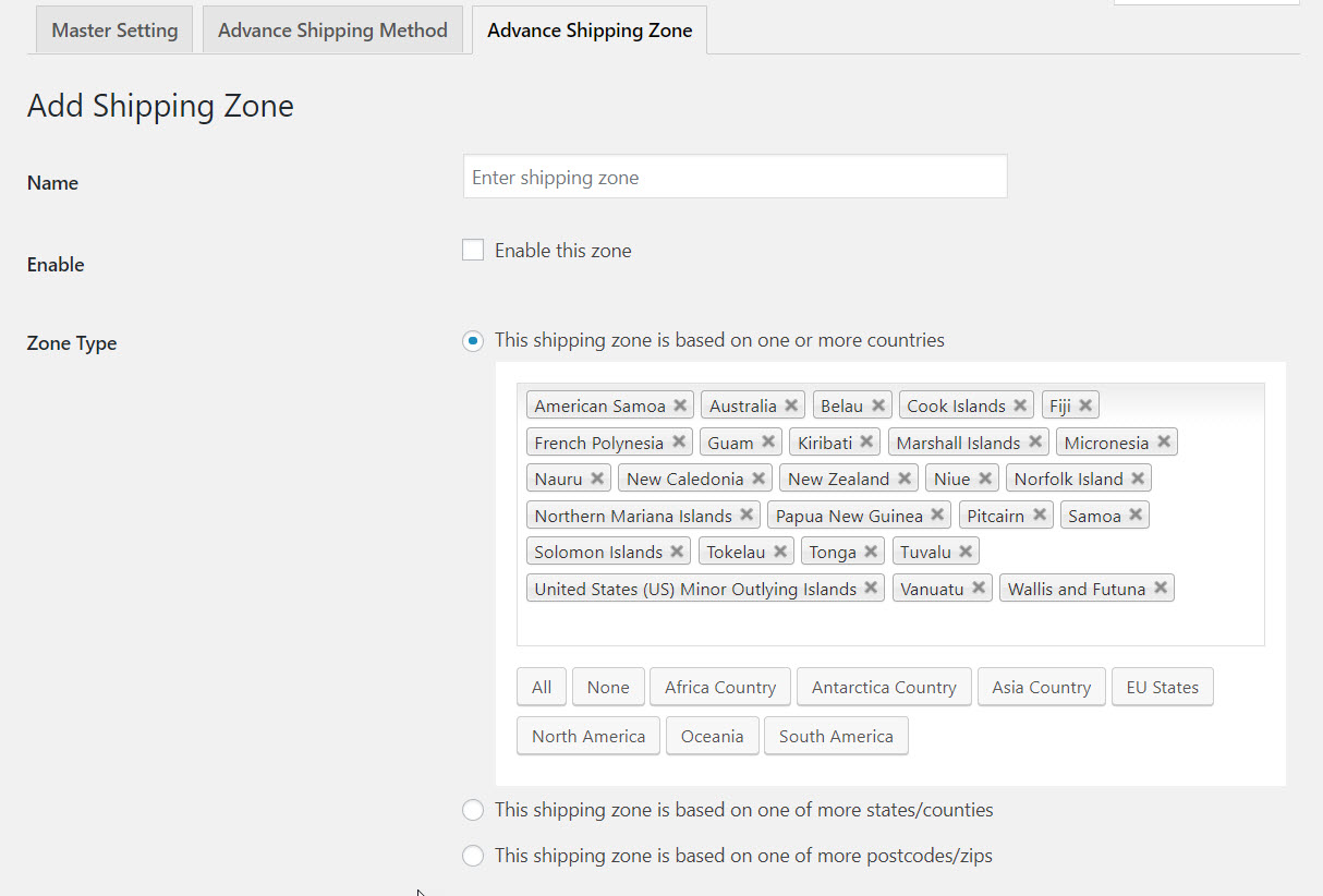 Add shipping zones in WooCommerce