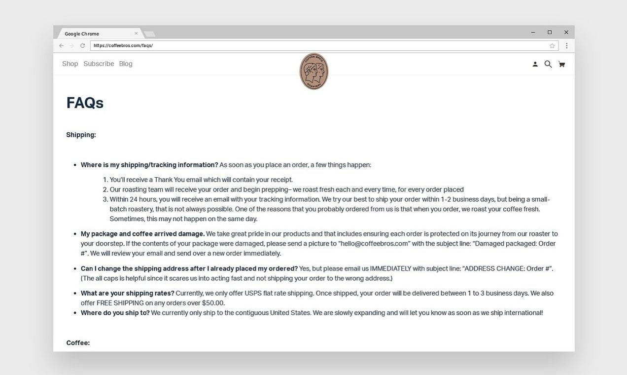 screenshot of Coffee Bros. FAQ page