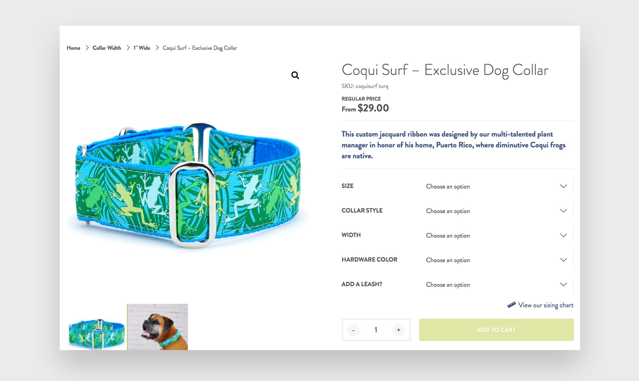 Screenshot of a product page from 2 Hounds Design, which uses WooCommerce to allow product customizations.