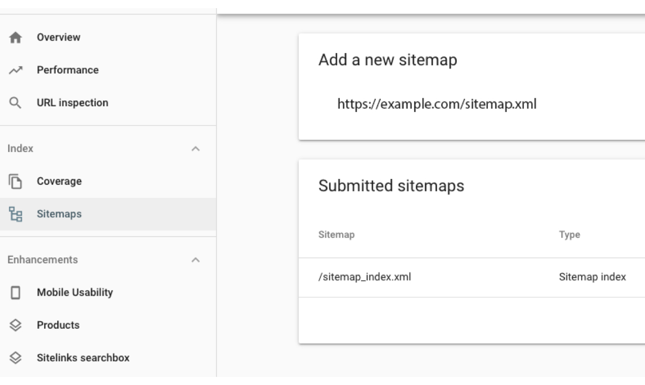 screenshot of Google Search Console sitemap screen with a URL added