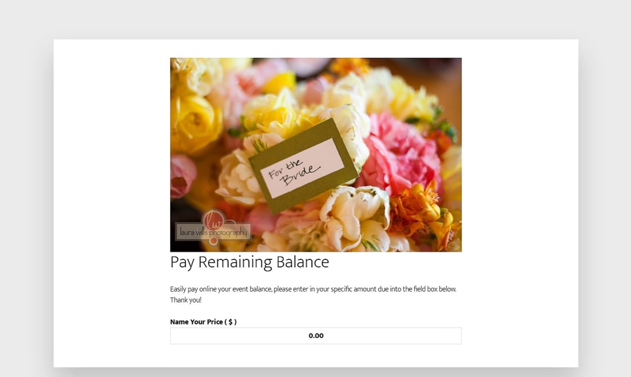 screenshot of Name Your Price used for paying a bill on the Poppy Floral site