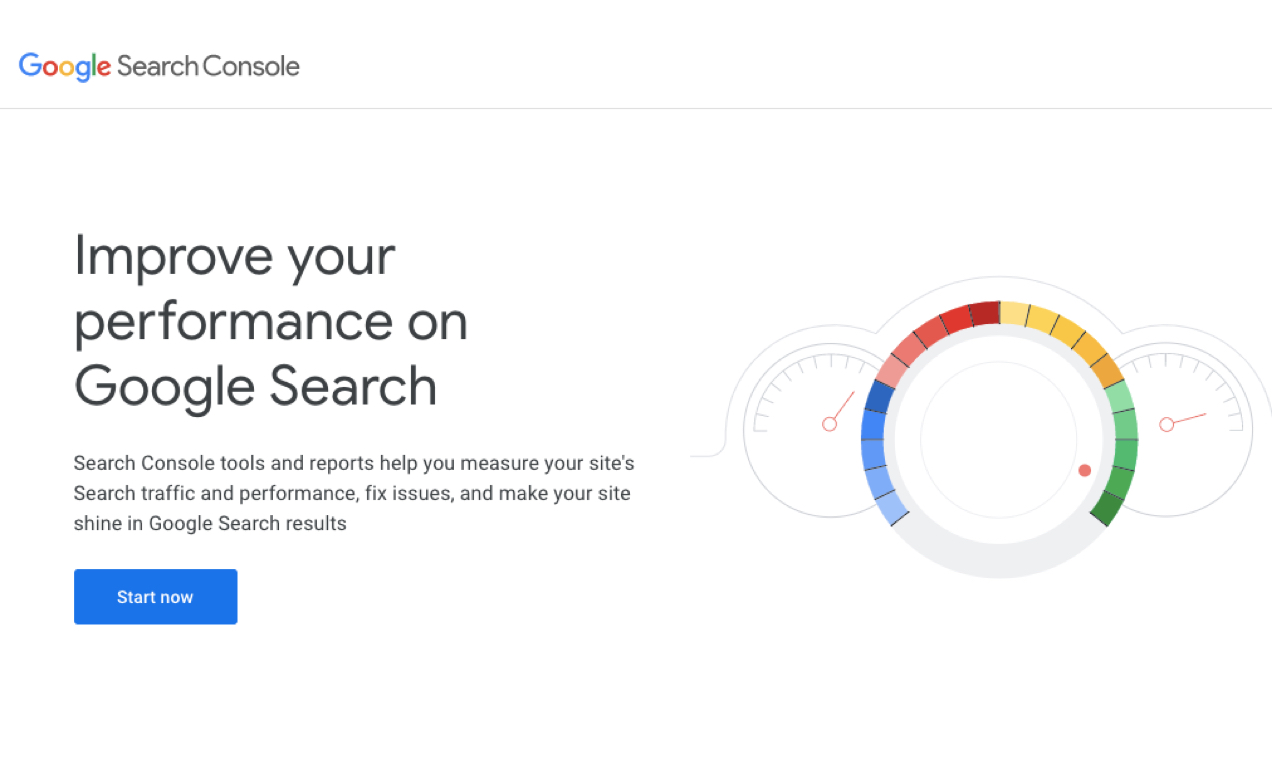 screenshot of Google Search Console home page with button to Start Now