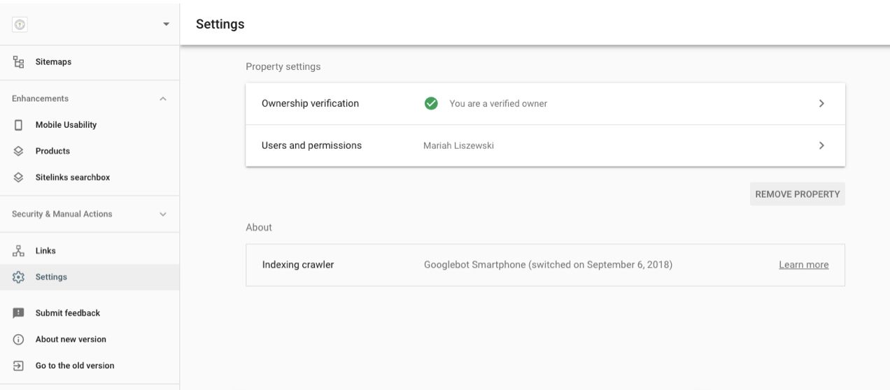 screenshot of the Owner Verification page on Google Search Console