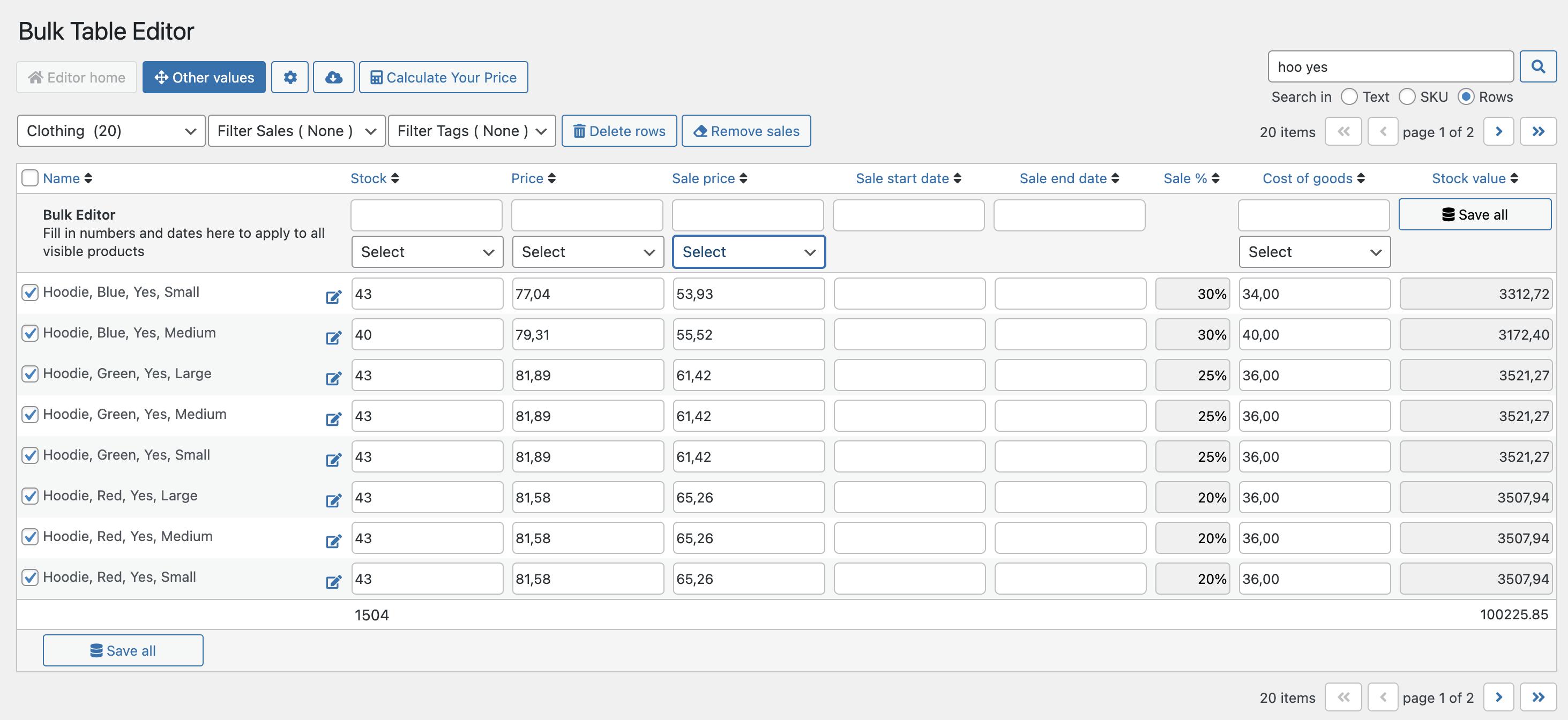 Bulk Table Editor - sales history