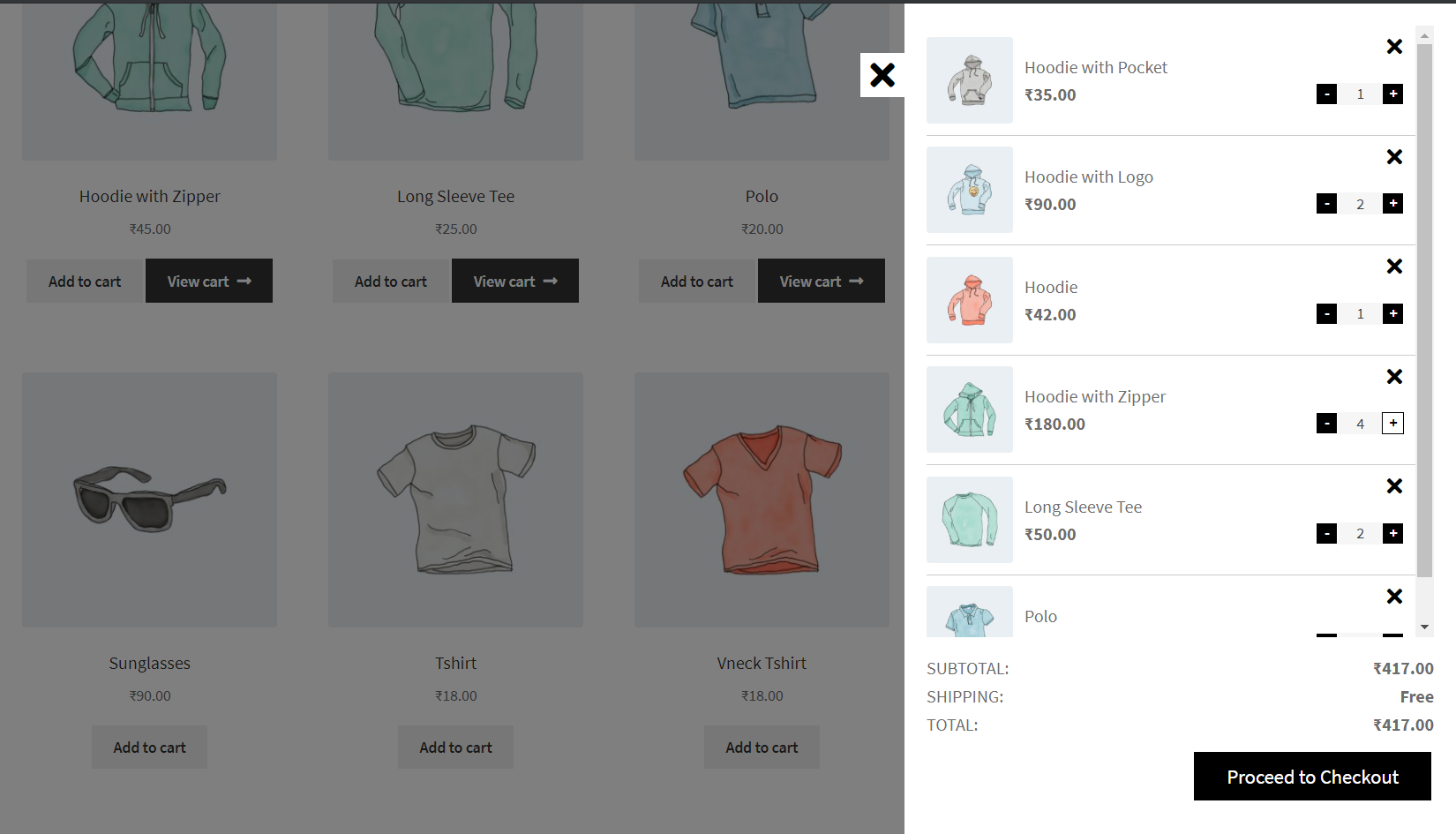 WooCommerce Smart Cart - Cart Items