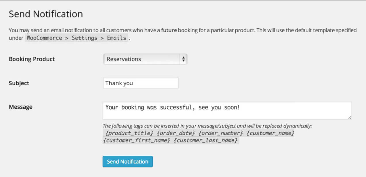 Screenshot from WooCommerce Bookings showing reservation confirmation email settings