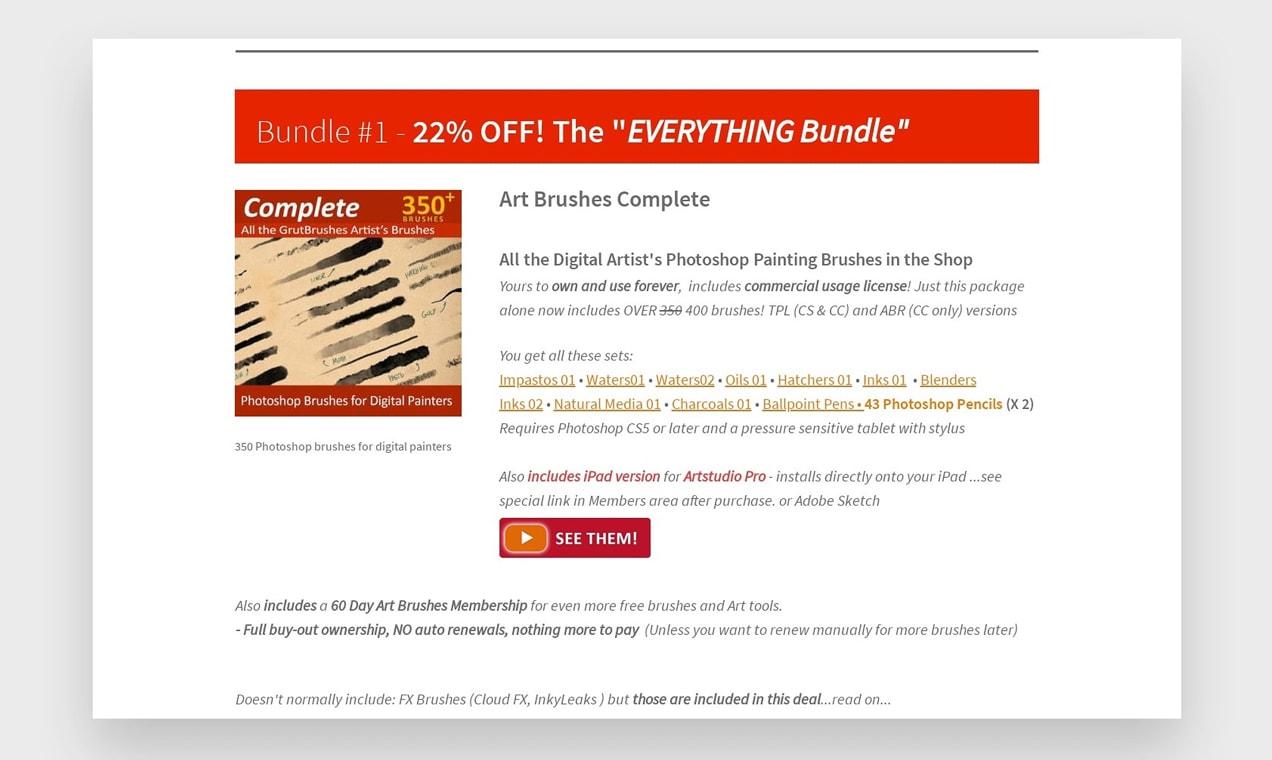 Screenshot of Grut Brushes using WooCommerce Memberships