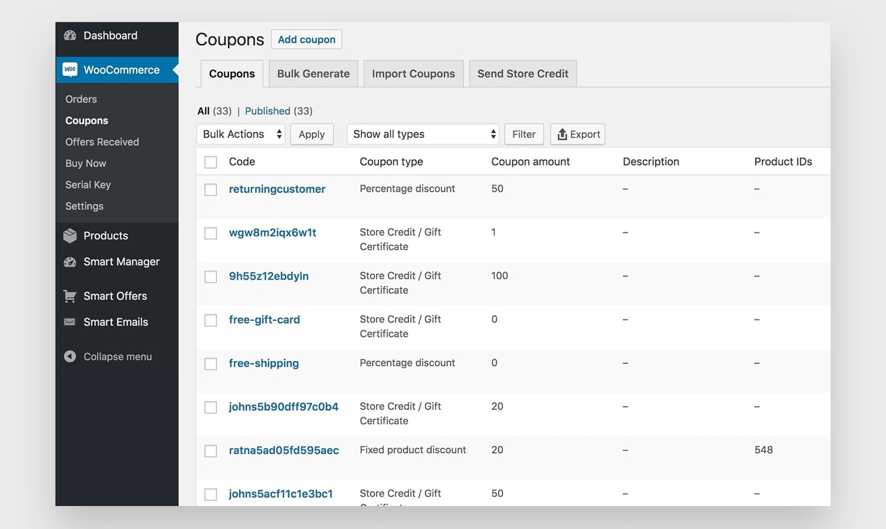 screenshot of Smart Coupons admin dashboard, showing a list of available coupons
