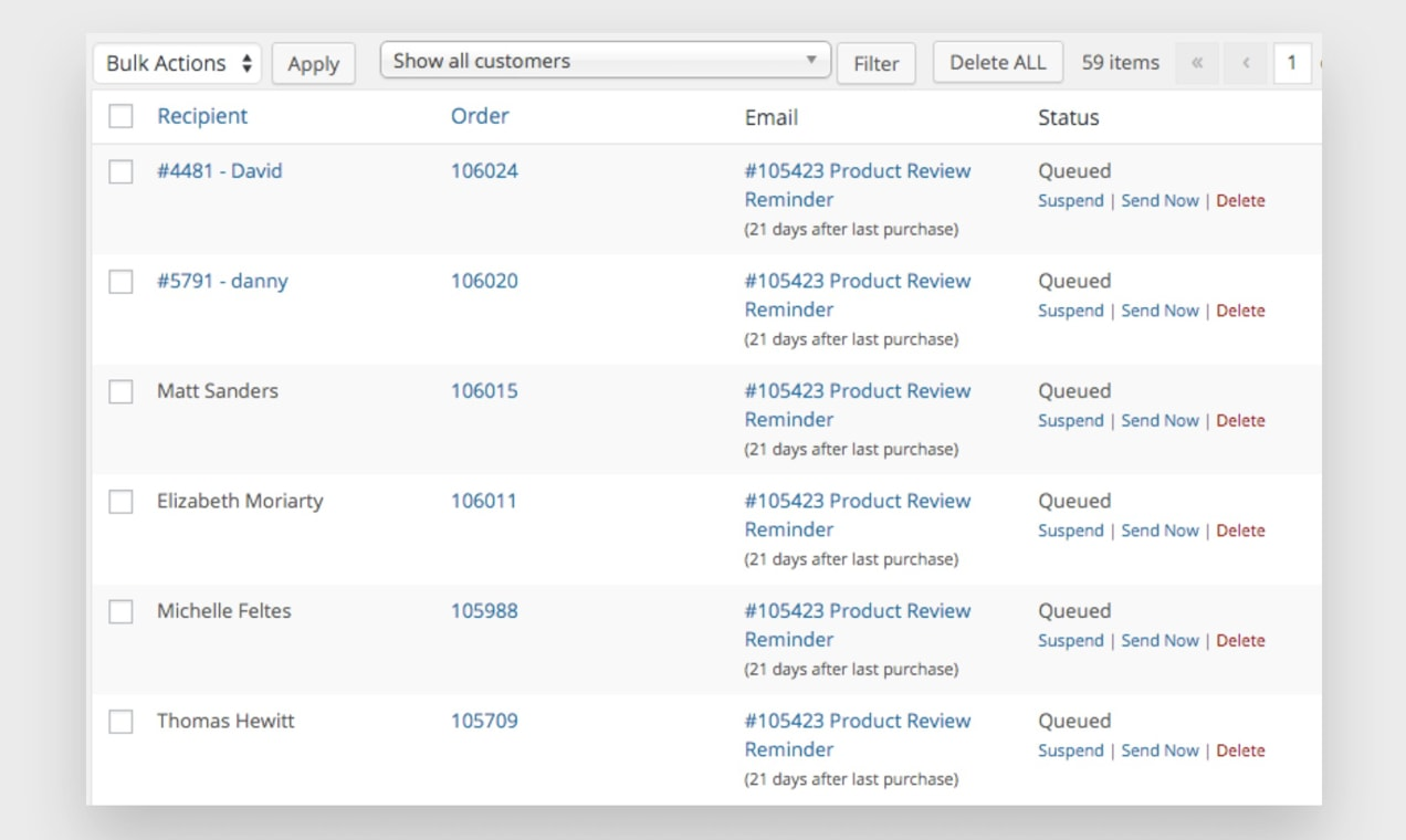 Screenshot from Follow-Ups dashboard, showing queued emails