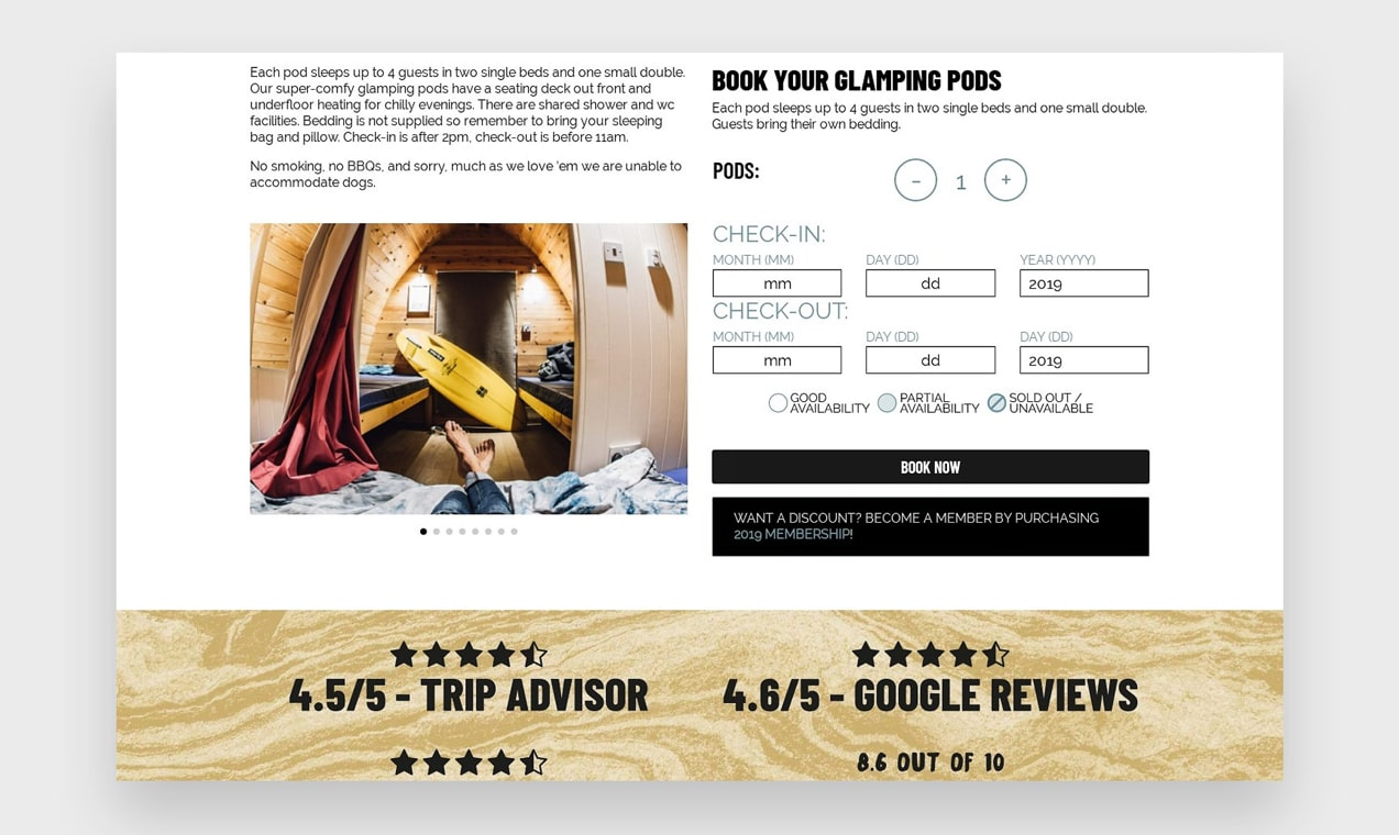 Screenshot of booking page for glamping pods