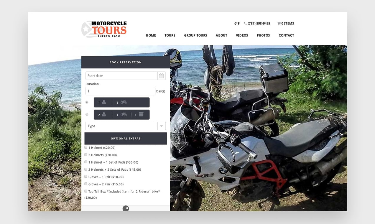 Screenshot of booking page from a motorcycle tours company