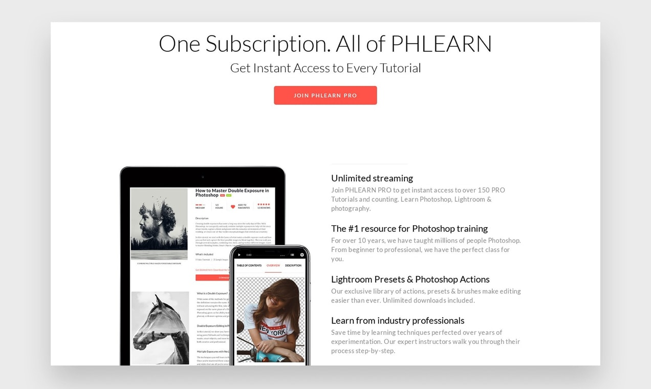 Screenshot of PHLearn membership page, listing included benefits