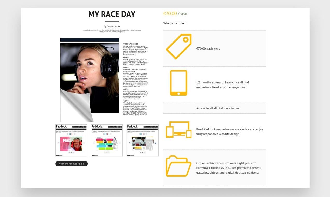 Screenshot of Paddock Magazine product page