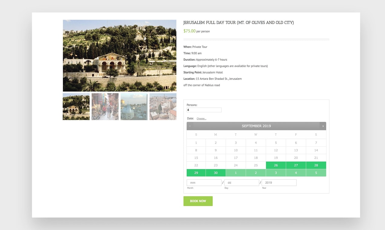 screenshot of a booking calendar on Visit Palestine's website