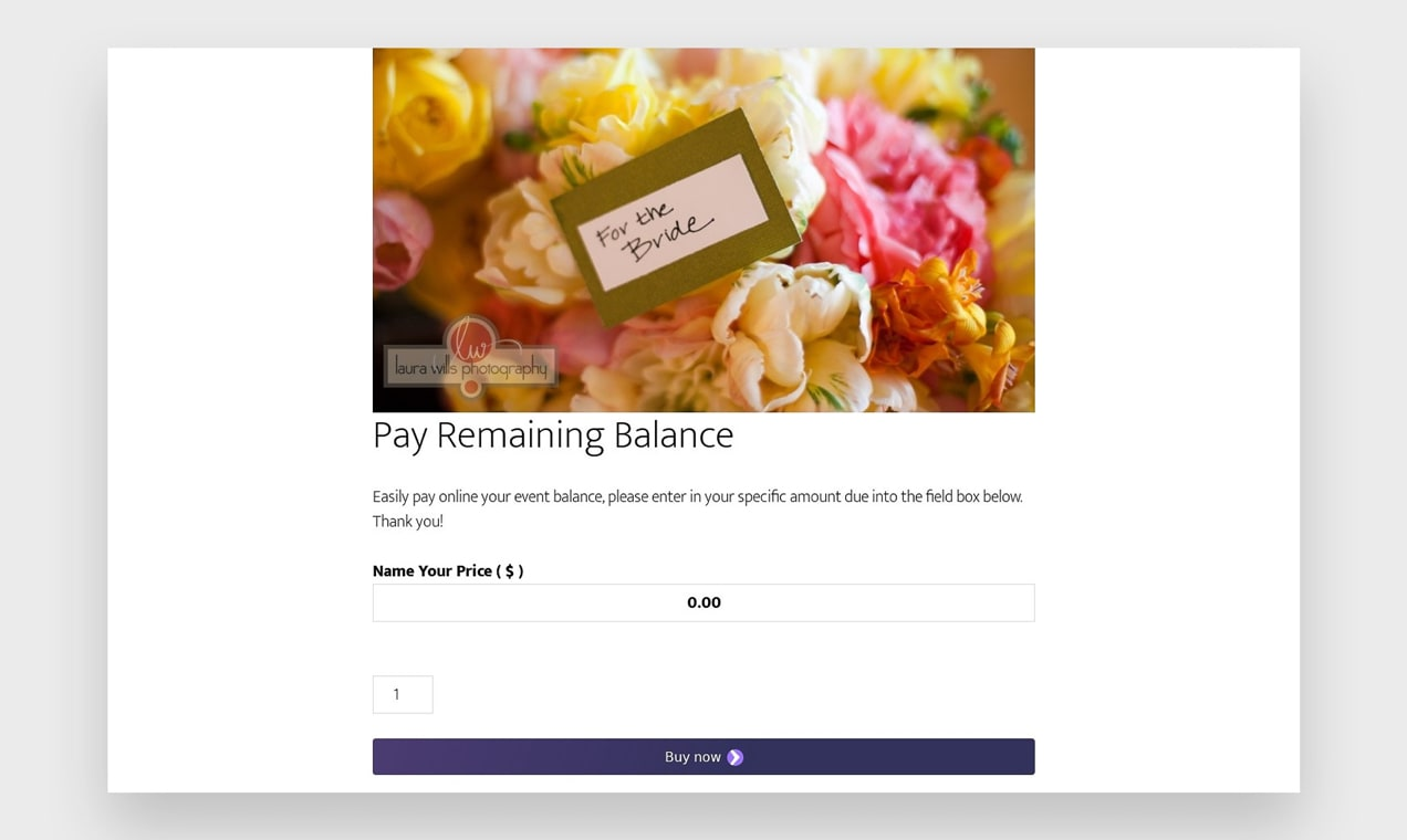 Screenshot of payment page from Poppy Floral