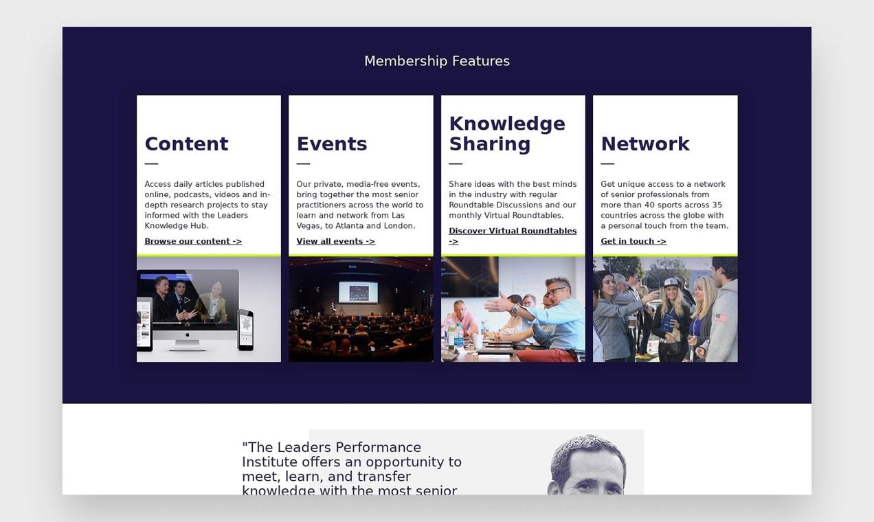 Screenshot of Leaders in Sport membership features area