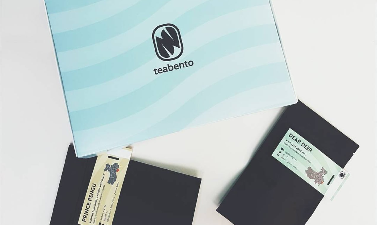 photo of Teabento packaging - a blue box with their logo on the center