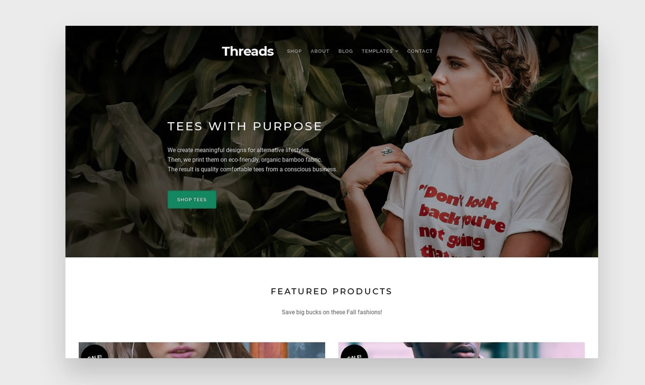 demo of the Threads WooCommerce theme that can help you start an online clothing store