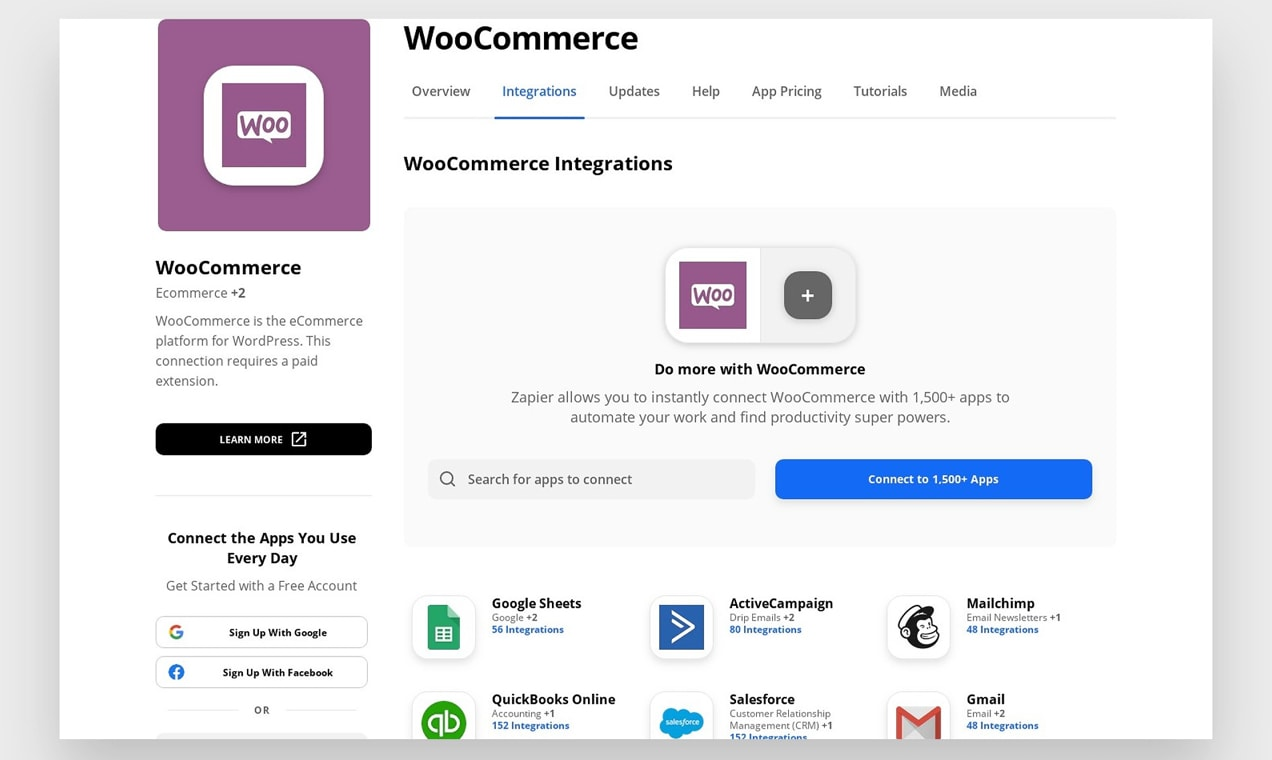 Zapier's WooCommerce Integration page.