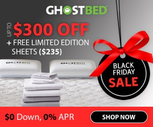 GhostBed ad, with bright red text and a holiday ornament