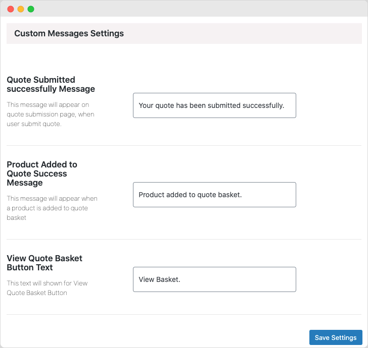 Redirect Settings on quote submissions
