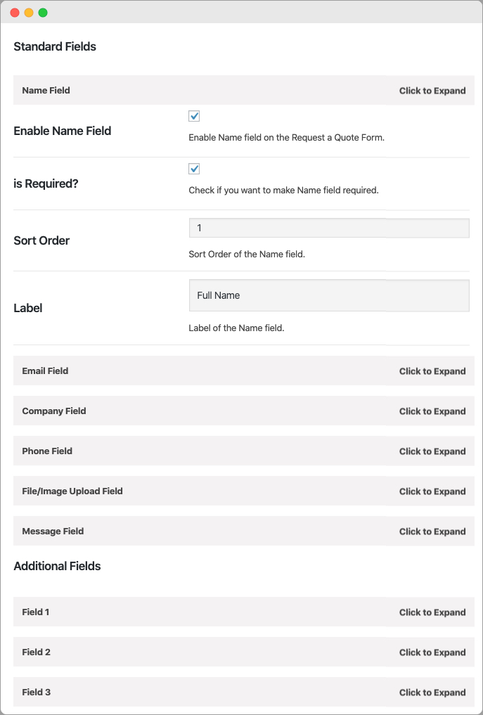 WooCommerce Request a Quote Form Fields