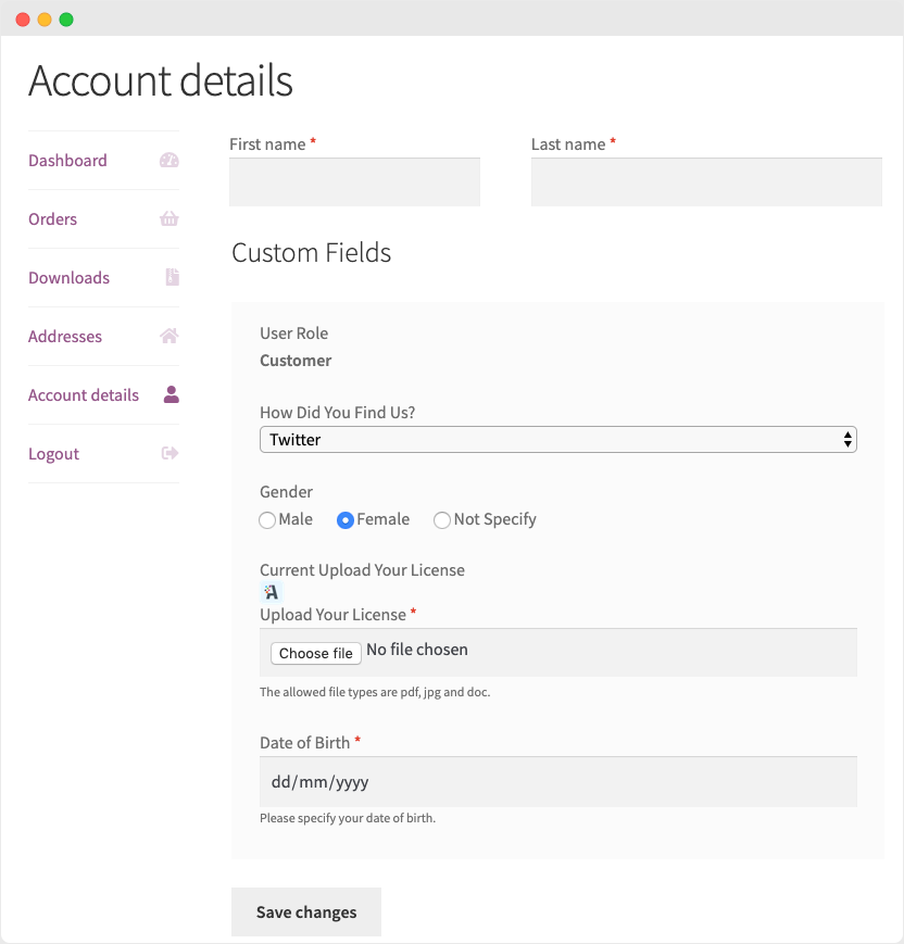 WooCommerce Custom Fields in My Account