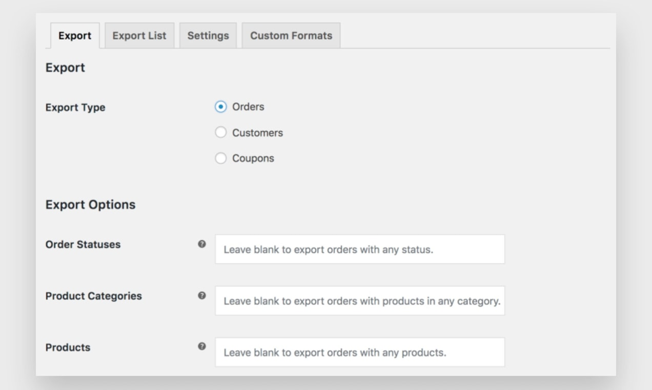 Screenshot of an Order export screen in WP Admin.