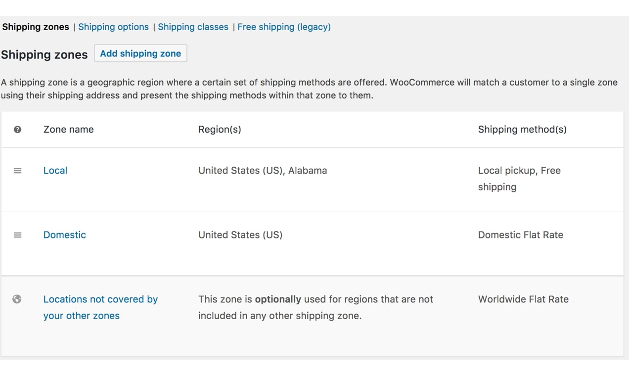 Screenshot of Shipping Zones settings screen from WooCommerce